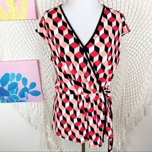 Micheal Micheal Kors geometric side tie v neck top